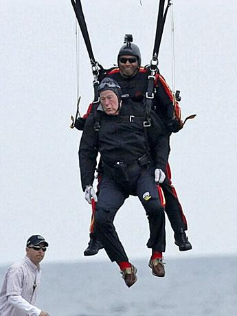 George H W Bush Parachuting