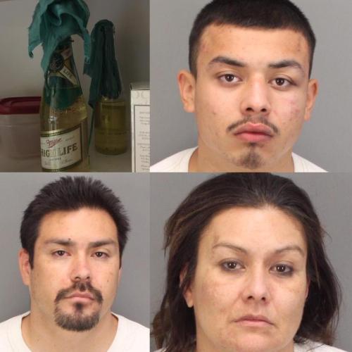 Bernadette Noriega, Jesus Noriega, Mario Vigel and a Molotov cocktail in a Miller High Life bottle