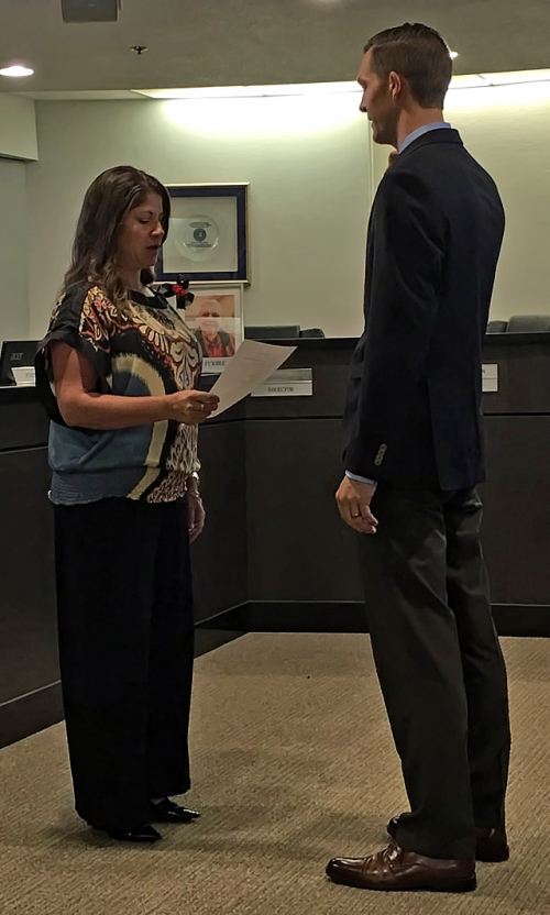 Ivan Sewell Being Sworn In As MSWD Commissioner
