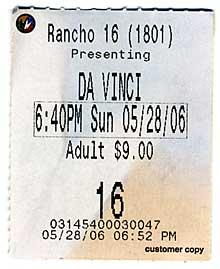 Da Vinci ticket stub